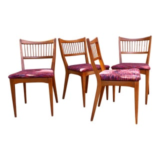 Mid Century Teak Spindle Back Dining Chairs - Set of 4