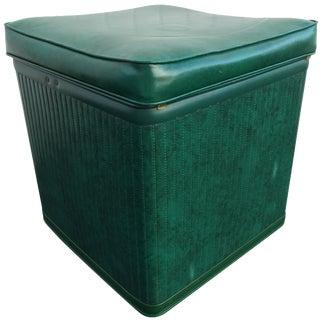 Pearl-Wick Green Vinyl Storage Ottoman