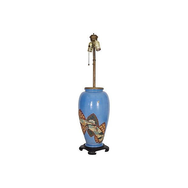 Antique Chinoiserie Blue Vase Lamp - Image 5 of 6