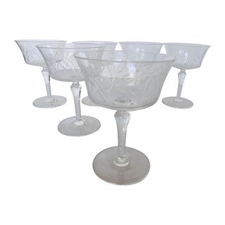 Etched Floral Pattern Crystal Coupe - Set of 6