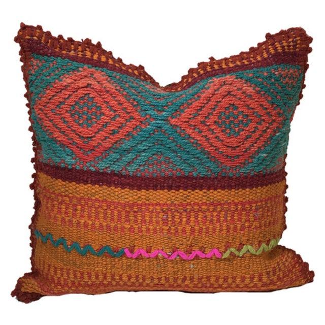 Peruvian Orange & Blue Frazada Pillow Cover - Image 1 of 2
