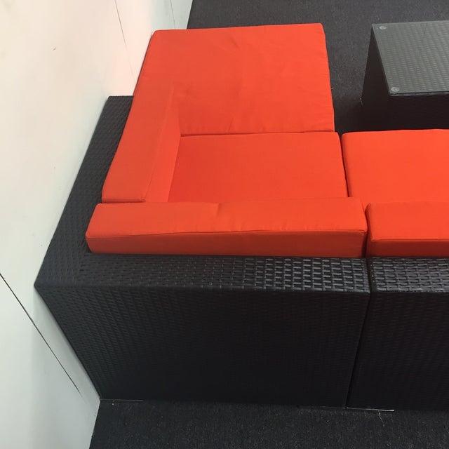 Orange Wicker Patio Set - Image 7 of 10