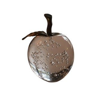 Crystal and Brass Apple Paperweight