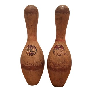 Antique Faded Bowling Pins - A Pair