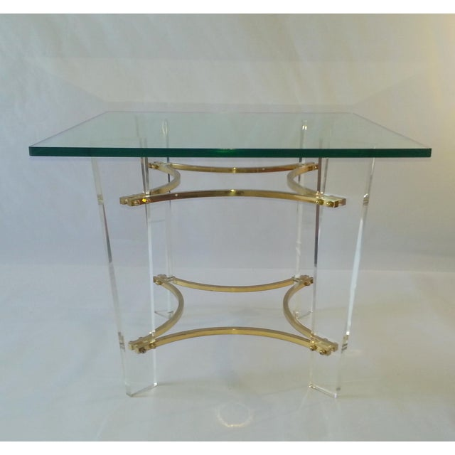 Vintage 1970 39 s lucite brass glass coffee table chairish for Lucite and brass coffee table