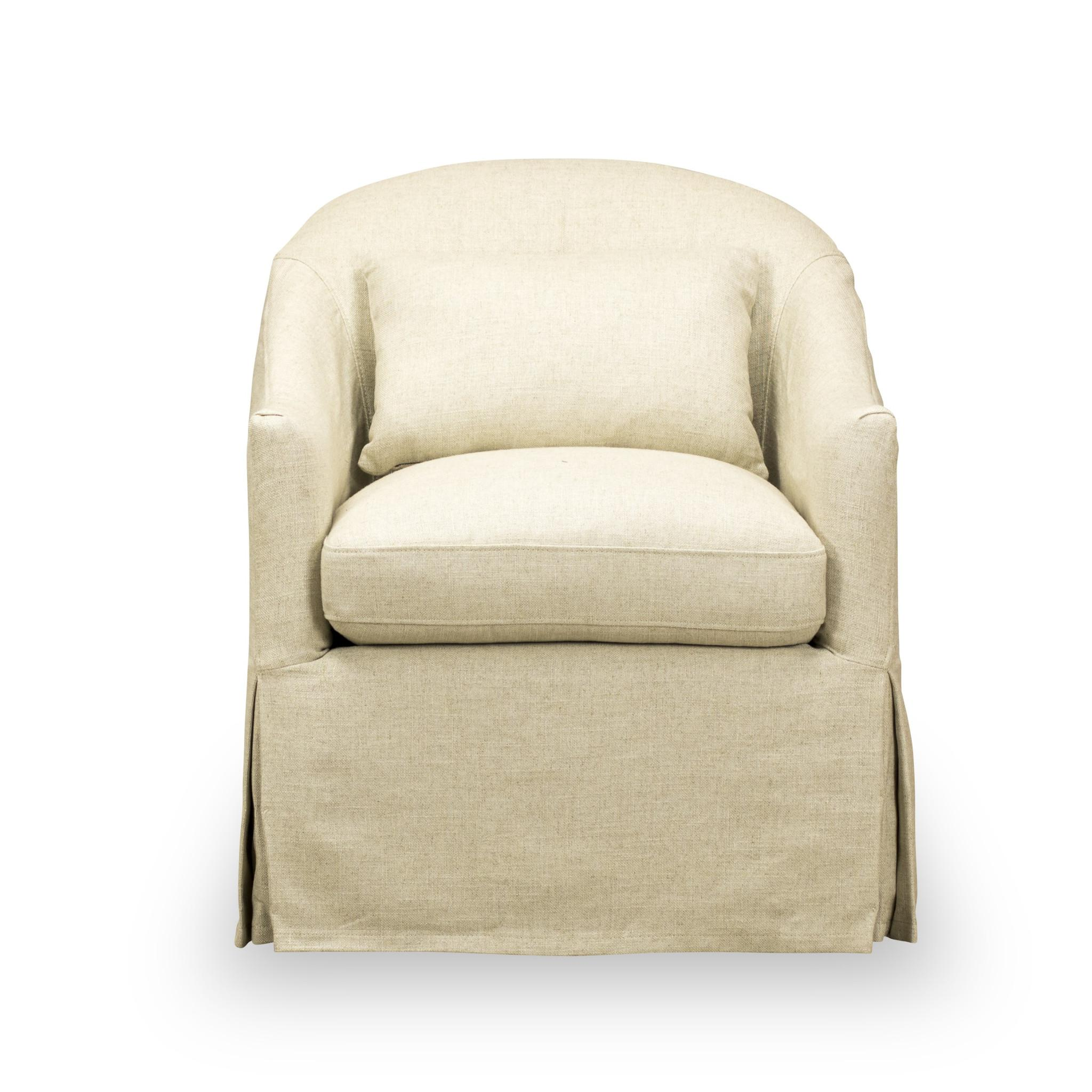 Spectra Home Traditional Linen Slip Cover Chair & Pillow