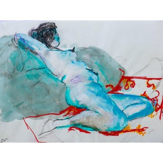"""Colorful Reclining Nude"" Origignal Drawing by Martha Holden"