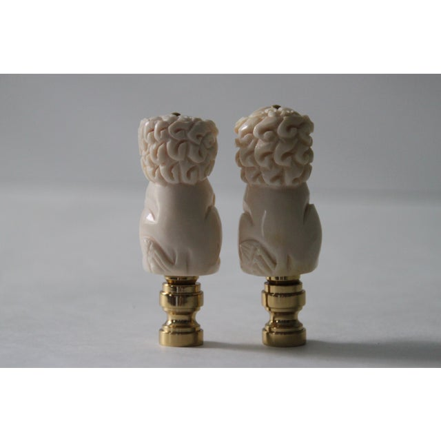 Chinese Bone Foo Dog Lamp Finials - A Pair - Image 3 of 5