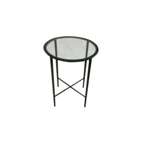 Round Metal Glass Top Side Table
