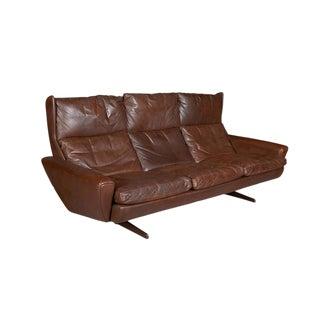Atomic Brown Leather Sofa by Fredrik Kayser