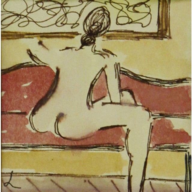 Image of Female Nude on Sofa Watercolor & Ink Painting