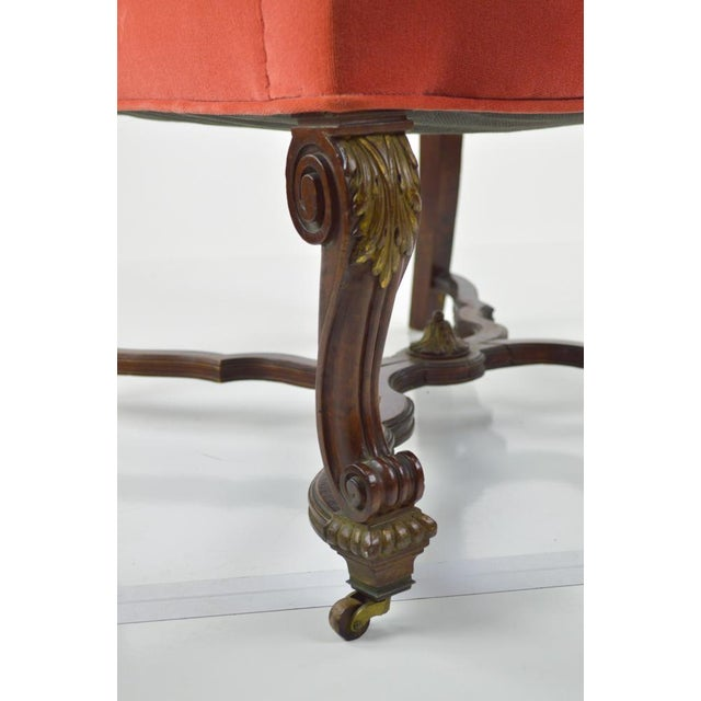 French Louis XIII-Style Velvet Armchair in Salmon - Image 7 of 7