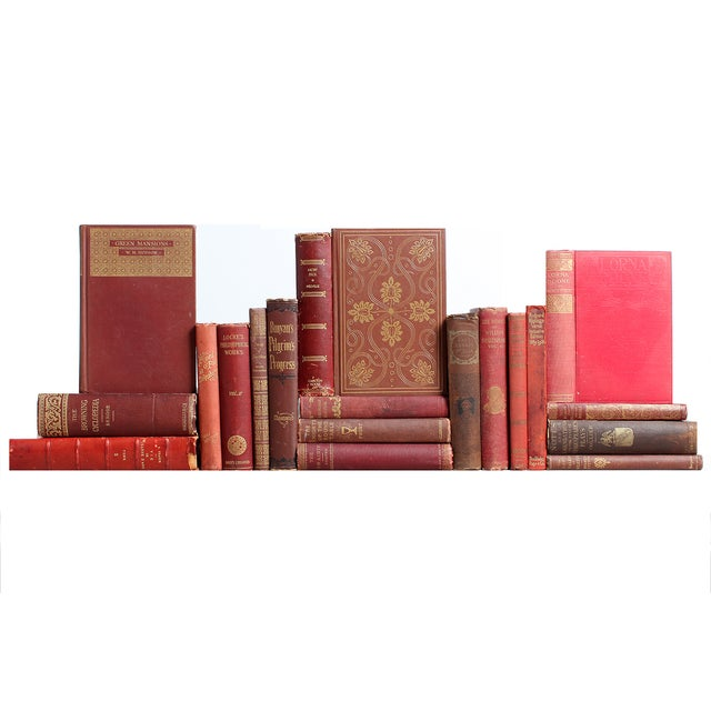 Image of Distressed Burgundy Classic Books - Set of 20