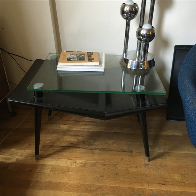 Mid-Century Modern Black Wood & Glass Side Table - Image 7 of 10