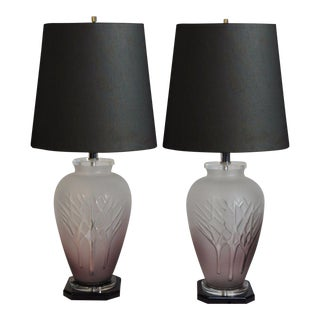 Vintage Mid-Century Modern Frosted Purple Glass & Lucite Table Lamps - A Pair