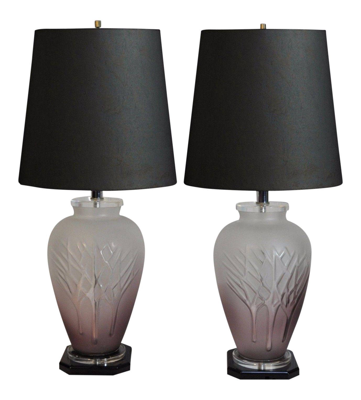 Vintage Mid Century Modern Frosted Purple Glass U0026 Lucite Table Lamps   A  Pair