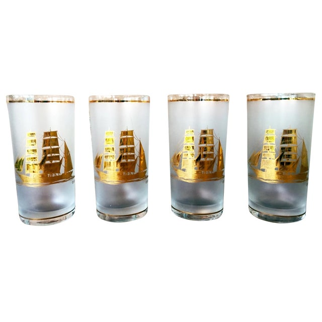 Image of Culver 22k Gold Sailboat Highballs - Set of 4