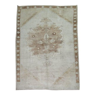 Vintage White & Brown Turkish Oushak Rug, 9'1'' x 13'8''