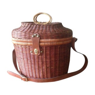 Vintage Wicker & Leather Picnic Basket