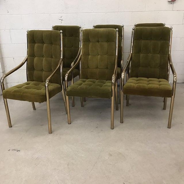 chromcraft green velvet brass dining chairs set of 6 chairish. Black Bedroom Furniture Sets. Home Design Ideas