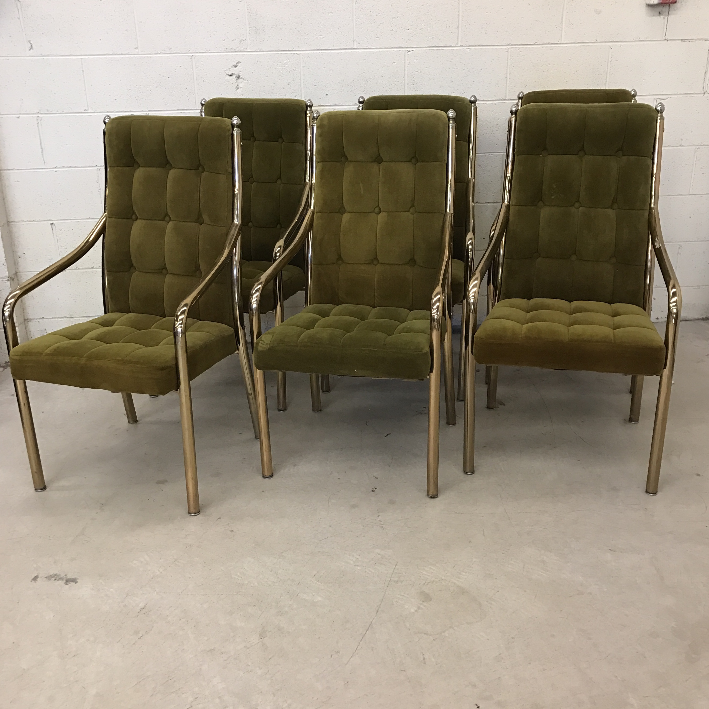 Great Chromcraft Green Velvet U0026 Brass Dining Chairs   Set Of 6   Image 2 Of 11