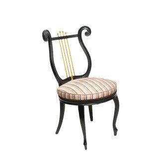 Ebonized Lyre Back Vanity Chair