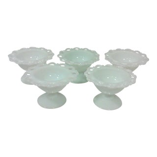 lacy Edge Milk Glass Footed Dessert Dishes - Set of 5