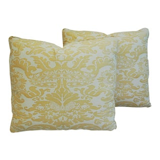 """20"""" X 18"""" Italian Mariano Fortuny Corone Crown Feather/Down Pillows - Pair"""