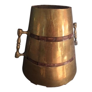 Brass & Wood Fireplace Bucket