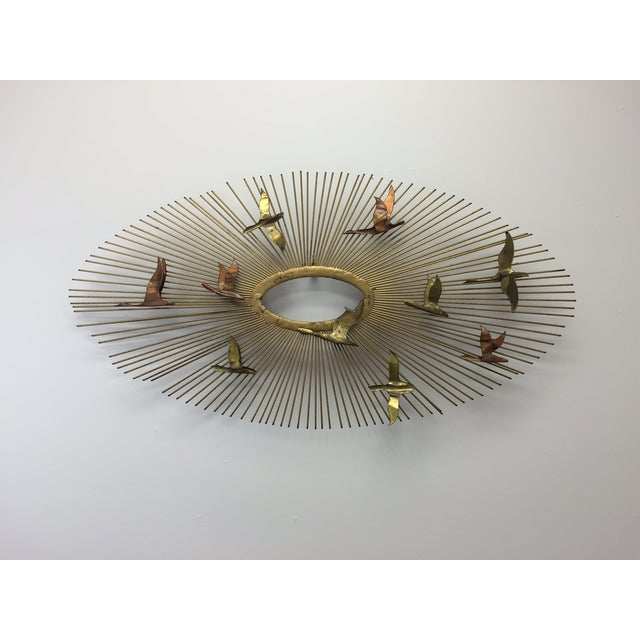 Image of Curtis Jere Sunburst With Birds Wall Sculpture