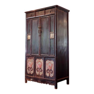 Chinese Lacquered Tall Cabinet Chest with Flower Panels and Dream Stones Inset