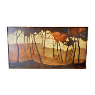 Vintage Brown Trees Impressionist Painting