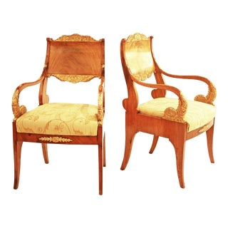 Pair of 19th Century Neoclassical Bleached Mahogany Russian Armchairs