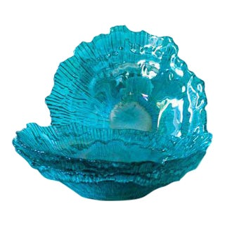 Iridescent Aqua Shell Glass Bowls - Set of 3