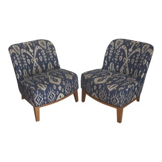 Blue & White Ikat Chairs - A Pair