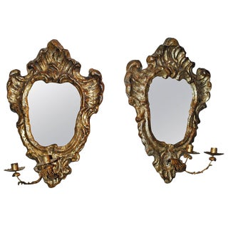 Pair of Venetian Gilted Mirrored Sconces