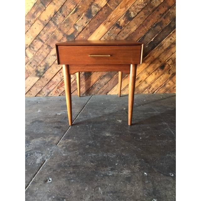Mid-Century Refinished Side Table With Drawer - Image 2 of 6