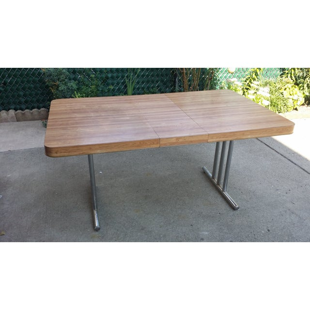 Vintage 1970s Metal & Formica Top Dining Table - Image 2 of 4