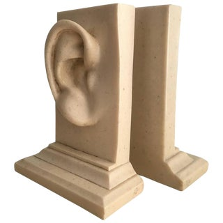 Monumental Pair of Marble Ear Bookends