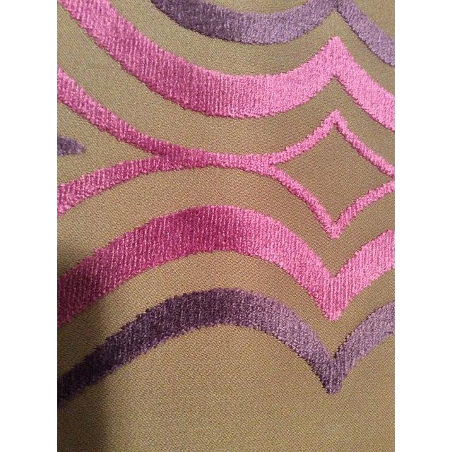 Designers Guild Tan, Pink & Purple Cut Velvet Fabric- 4 Yards - Image 4 of 5