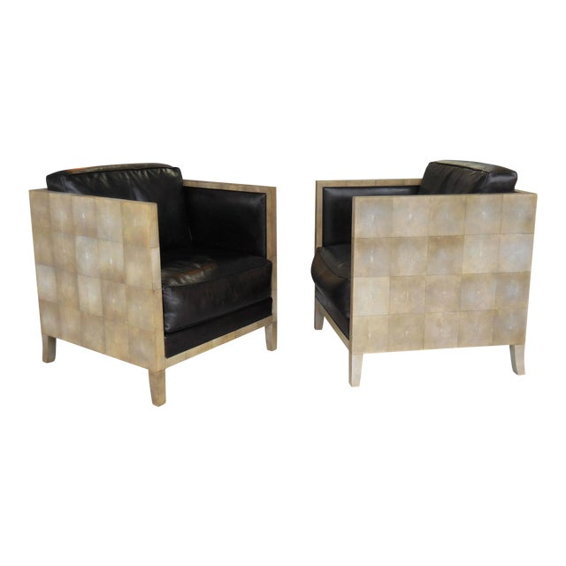 Pair of Jean-Michel Frank Style Shagreen Club Chairs - Image 1 of 8