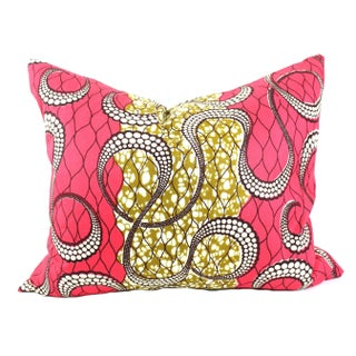 African Dutch Wax Swirl Accent Pillow