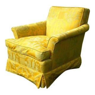 Mid-Century Gold Silk Accent Chair