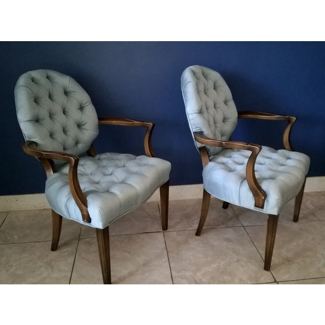 Image of Vintage Baby Blue Tufted Chairs