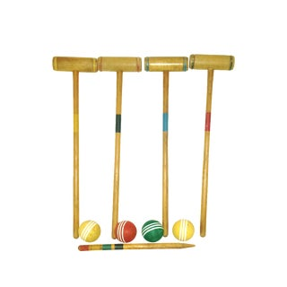 Mid-Century Croquet Game Mallets and Balls