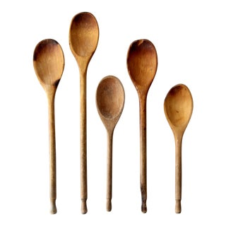 Vintage Wood Kitchen Spoons - Set of 5