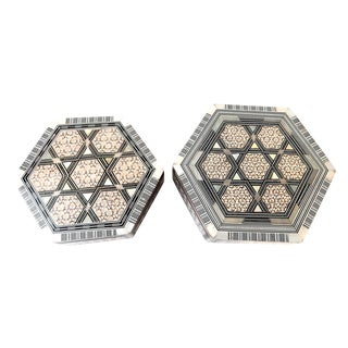 Middle Eastern Inlaid Hexagonal Boxes - A Pair