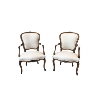 Louis XV White Linen Walnut Armchairs - A Pair