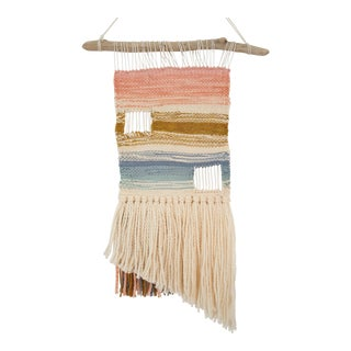 Handwoven Coral, Blue, & Brown Wall Hanging on Driftwood