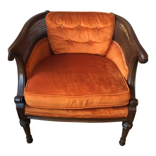 Vintage Cane & Orange Velvet Fabric Chair